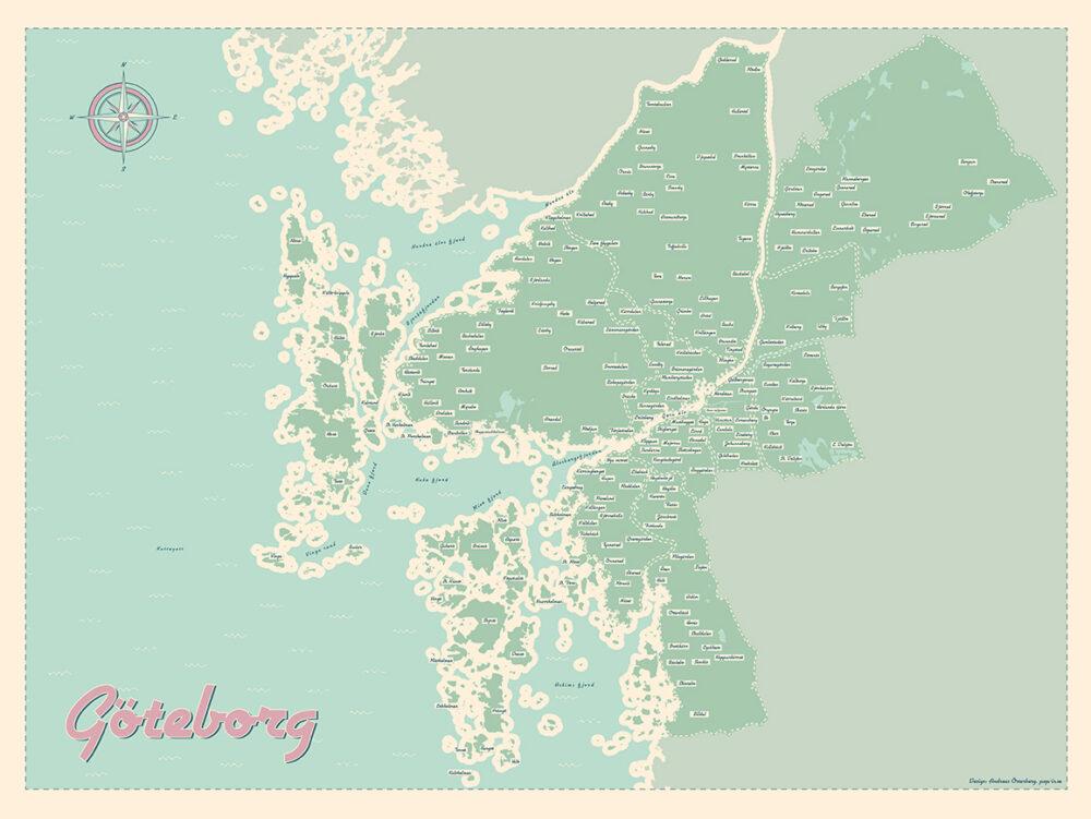 Göteborg med norra och södra skärgården färg