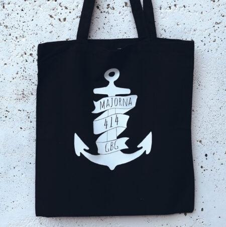 Tote bag Majorna anchor black