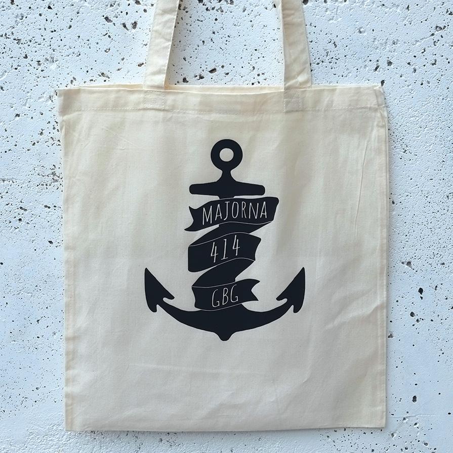 Tote bag Majorna anchor white